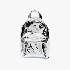 Heron Preston silver mirrored backpack
