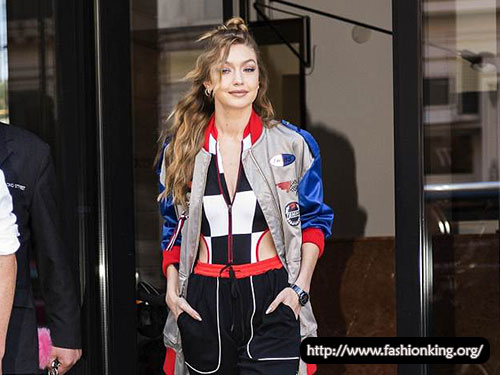 Gigi Hadid Looks Ready to Race in Checkered Top & Bomber Jacket